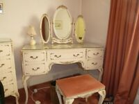 high end glass topped painted furniture