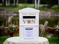 handmade wooden Luxury white color Large mailing / post office box. wedding gifts / postcards money