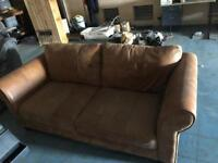 Beautiful DFS 3 Seater Brown Leather Sofa