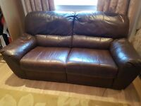 Brown Leather 3 Seat Recliner