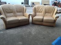 Two 2 seater sofas and footstool leather