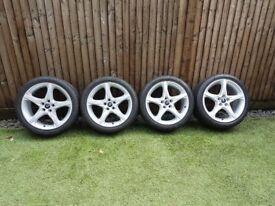 Set of 4 genuine Ford 5 spoke alloy wheels with Pirelli P Zero Rosso tyres
