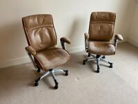 2x Leather office chairs for FREE
