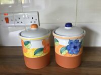 2 x Hand decorated terracota storage containers