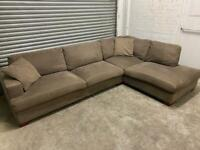 FREE DELIVERY HUGE BROWN FABRIC L-SHAPED CORNER SOFA GOOD CONDITION