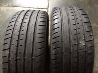 2 X HANKOOK 205 / 45 RF 17 RUN FLAT TYRES. 6.4 MM TREAD, MINI COOPER 'S', BMW ETC.