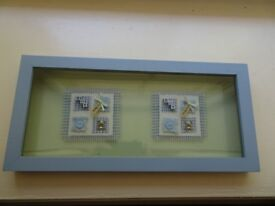 Very Unusual Double Glazed Back and Front New Twin Boys Babies Celebration Framed Glazed Picture