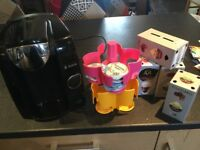 Tassimo coffee machine, pods and pod holder