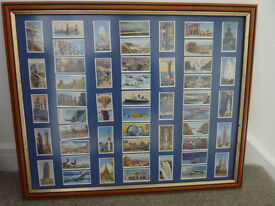 Framed original 1955 Churchman Cigarette Cards - World Wonders Old and New