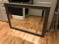 Large silver embossed mirror