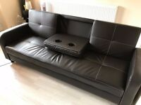 Brown Sofa Bed With Bluetooth Speakers