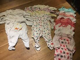 Girls 0-3 vest and sleepsuit bundle