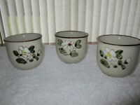 Three made in Korea decorative round glazed bowls H 10cms, diameter 10cms in mint unused condition.