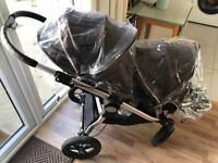 Baby Jogger City Select Double Twin Buggy Pushchair Stroller Pram with Second Seat & Rain Covers x2