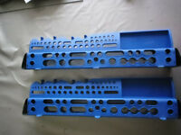 Plastic tool storage shelves x2