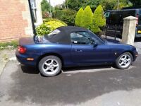 MX5 1.6 Navy, low miles, great condition, new MOT, chrome bars, FSH