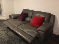 Leather recliner settee