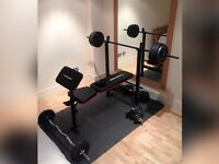 MAXIMUSCLE weights bench & 110KG weights.