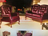 Sherborne antique wine chesterfield quality second hand 2/1/1