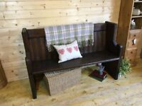 Rustic Solid waxed pine wood church pew monks bench settle, wooden hall Seat