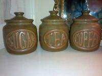 ORIGINAL VINTAGE..KITSCH..RETRO TEA, COFFEE, SUGAR POTS/ JARS