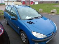 peugeot 206 sw estate , diesel, 2003, new mot november 2017 good condition inside and out ,