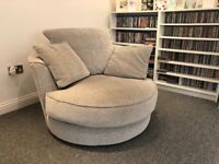 Grey sofa, swivel chair and footstool
