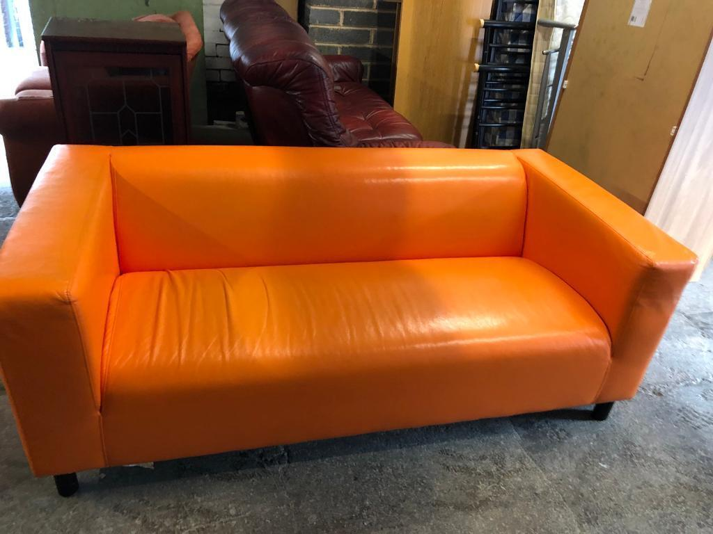 Orange Ikea Leather Sofa In Wombwell South Yorkshire