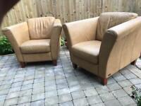 2 x Italian leather armchairs / sofa / suite