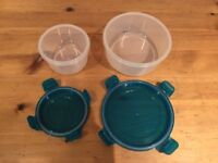 2 Pcs blue plastic food containers storage boxes