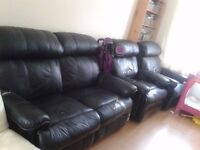 Black Leather recliner Sofa 2 seater and 2 single chairs
