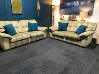 Lovely stripe suite 3 seater sofa 2 seater sofa cream and green