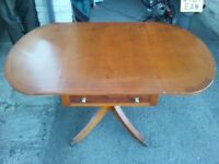 Yew Dining Table and Four Chairs