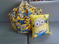 Official Minions beanbag and cushion as new condition £10