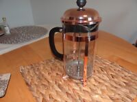 VonShef French Press 8 Cup Cafetière Glass/ Copper Coloured Stainless Steel Coffee Maker