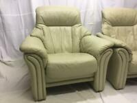 Image leather semi-reclining armchairs (x2)