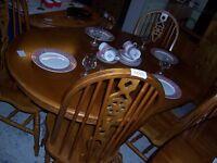 Dining Table: posh Farmhouse style, 6 seater (Fm Cambridge Re-Use)