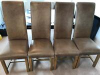 Four Indigo Furniture High Roll Back Dining Table Chairs x4