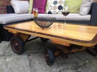 Industrial Trolley Drinks Table / Coffee Table