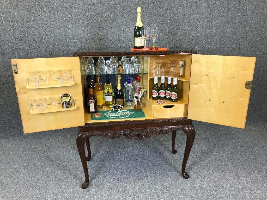 Cocktail Bar Mahogany Antique Style Drinks Cabinet Home Bar