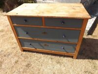 LOVELY OLD ANTIQUE PAINTED PINE CHEST OF DRAWERS