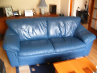 Three and Two Seater Leather Suite in Blue.