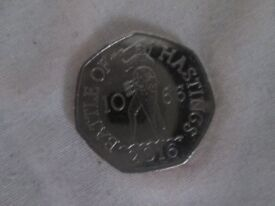 50p - 50 pence the battle of hastings 2016 coin from a sealed bag