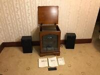 Sony HiFi 5 CD Changer, LP Player, Radio, EQ, Tape Deck Rec, 3 Way Speakers LBT-D307CD With Cabinet