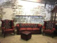 Vintage Oxblood Leather Chesterfield Suite