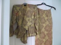 Ladies Smart suit in Gold Viscose size 10
