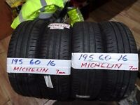 matching set of 195 60 16 michelins 7mm tread £90 set sup & fittd(LOADS MORE AV 7-DAYS)