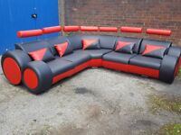 Very nice black and red leather corner sofa. Brand New in the Box. modern design, can deliver