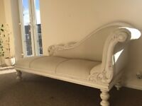 Chaise Long couch, off-white chappy chic style. Perfect for living room, bedroom or hallway.