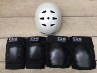 TSG Skateboard / BMX Helmet with TSG Knee Pads and Elbow Pads
